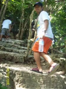 taking the steps to the top of Mt. Luho